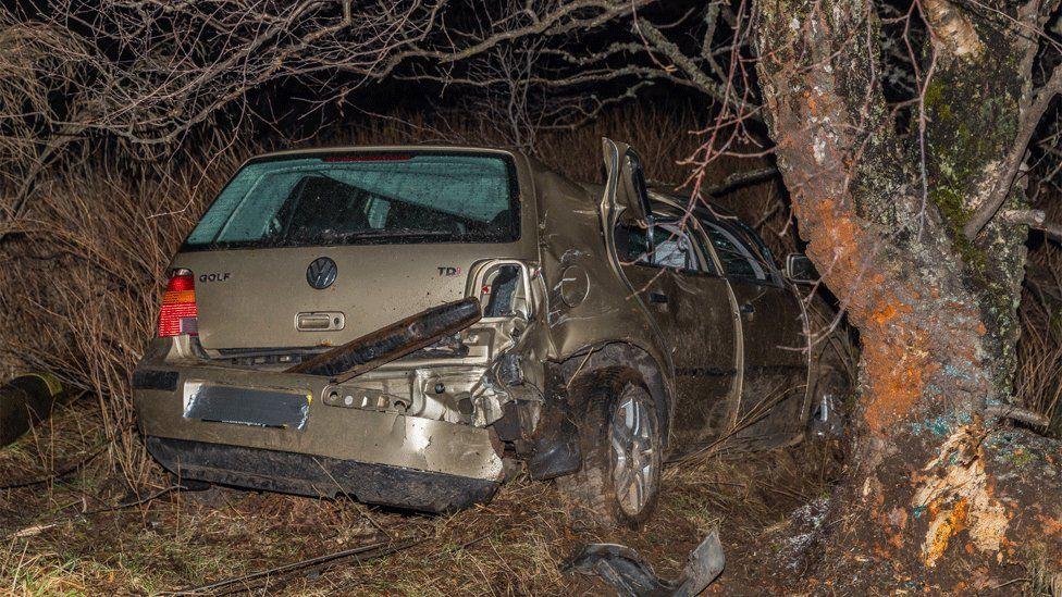 Crashed car on B9105