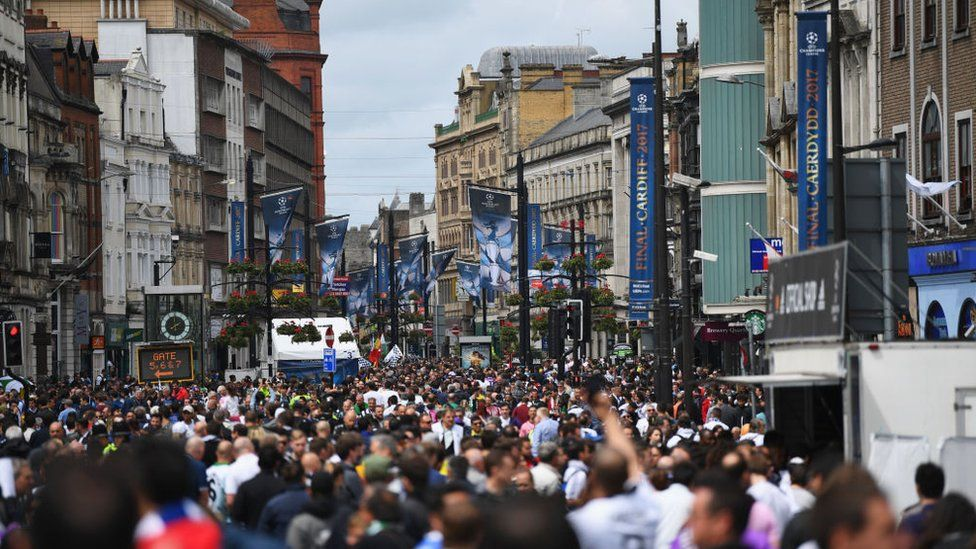 Fans in Cardiff city centre for the Champions League final