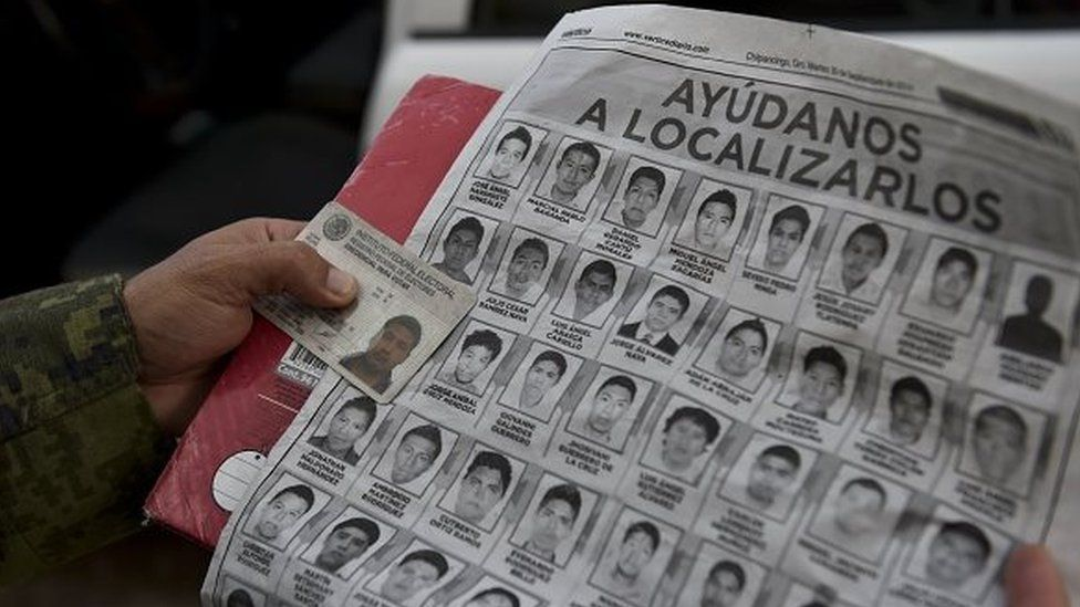 Mexican army soldiers conduct an inspection during a search operation for the missing students on 30 September, 2014