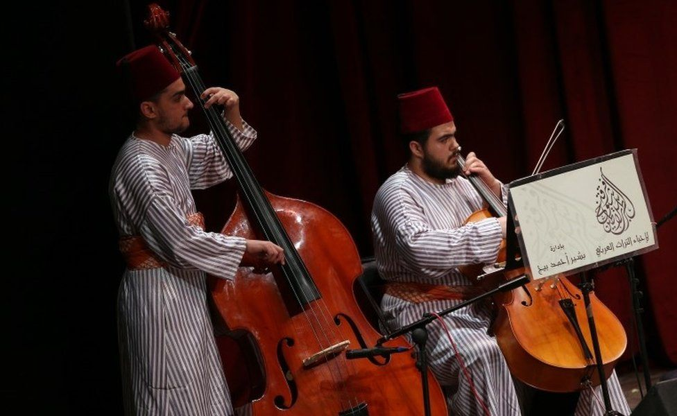 """Members of the group """"Chouyoukh Salatin Tarab"""" from Syria perform during the Festival de La Medina at the Municipal Theater in Tunis, Tunisia, 22 May 2018."""
