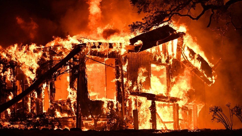 A house frame is totally set alight