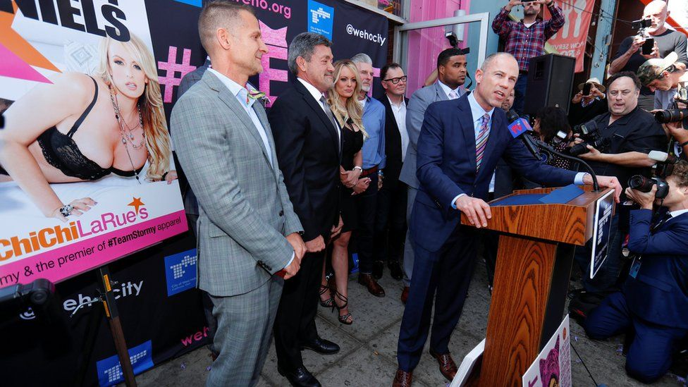 Ms Daniels' lawyer Michael Avenatti, right, speaking to the press outside Chi Chi La Rue's sex shop