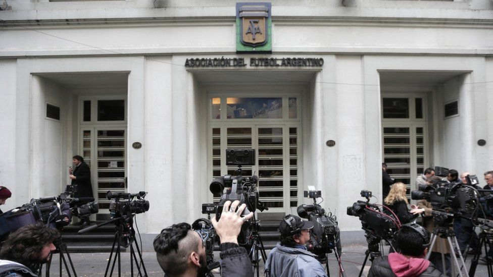 Journalists outside the headquarters of the Argentine Football Association, AFA, in Buenos Aires; file picture