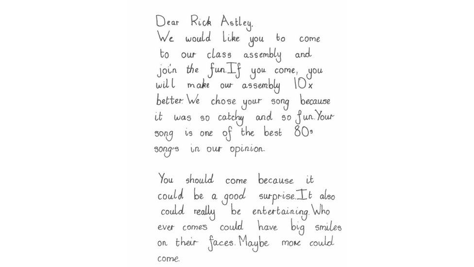 Pupil's letter to Rick Astley