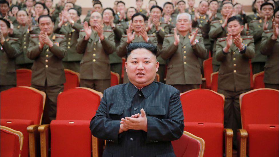 Kim Jong-un in front of his generals