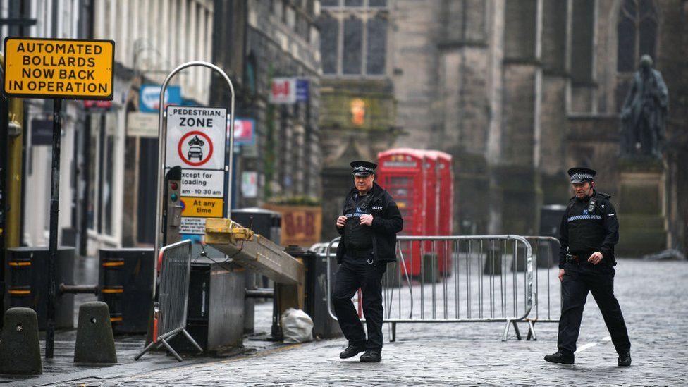 police patrolling empty street