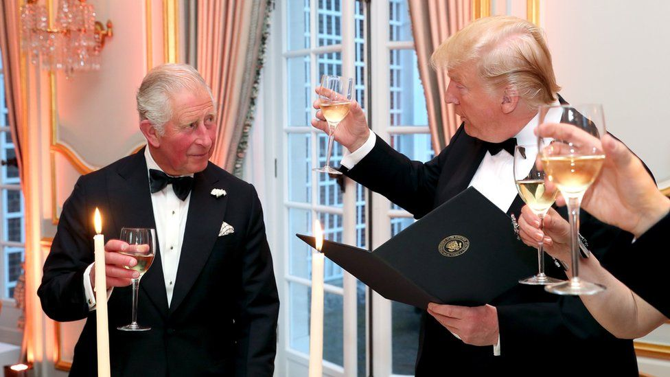 Prince Charles and Donald Trump share a toast