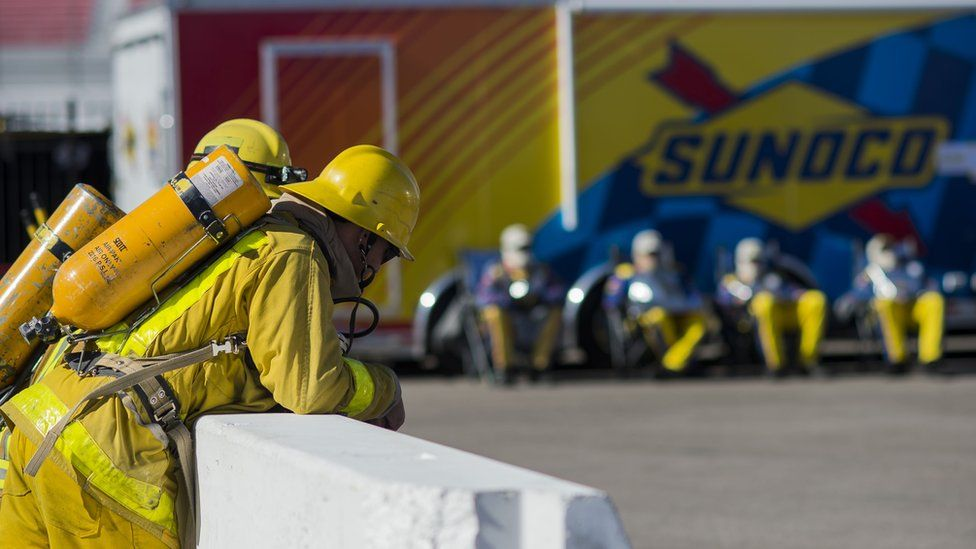 Firefighters at an event in Las Vegas, 2014