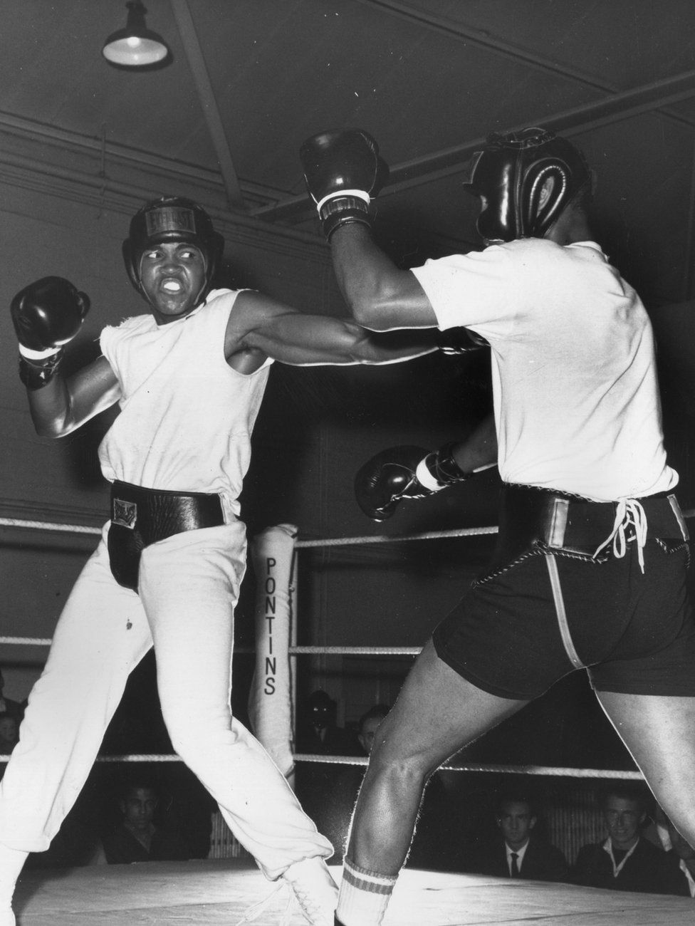 Ali sparring with Jimmy Ellis in London in 1966, before a fight with Henry Cooper