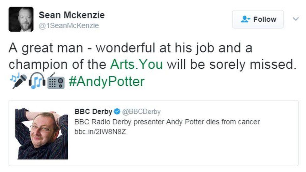 Derbyshire-born actor Sean Mckenzie's tweet