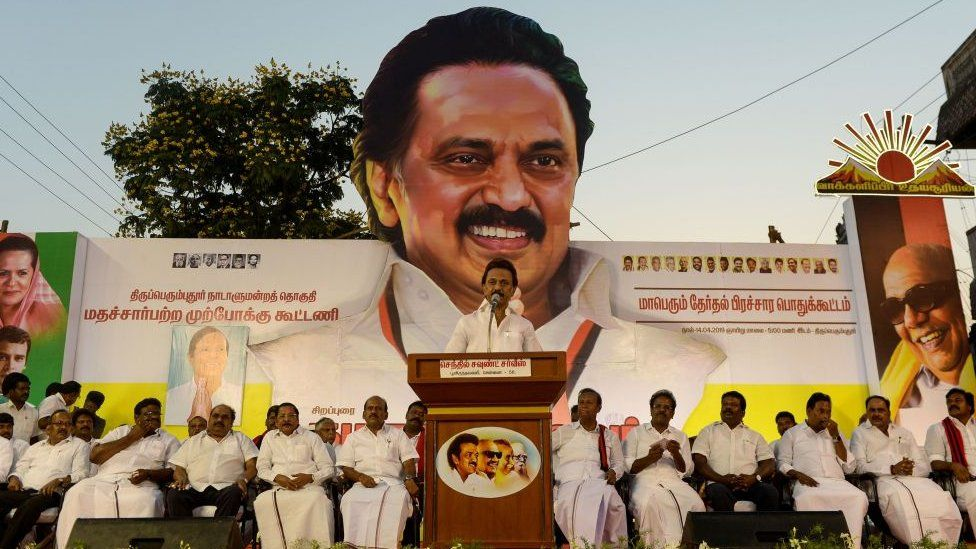 Indian Dravida Munnetra Kazhagam (DMK) party president M. K. Stalin speaks during an election rally for India's general election in Sriperumbudur in the Tamil Nadu state on April 14, 2019