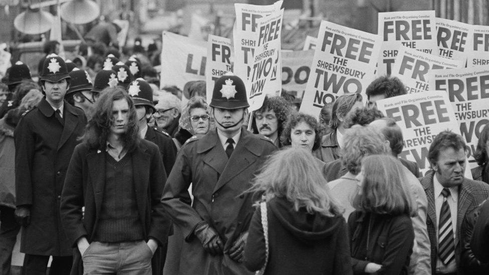 A demonstration for the Shrewsbury defendants in London, 1975