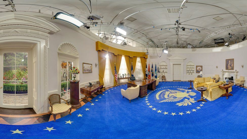Oval Office replica set at October Film Studios in Norfolk.