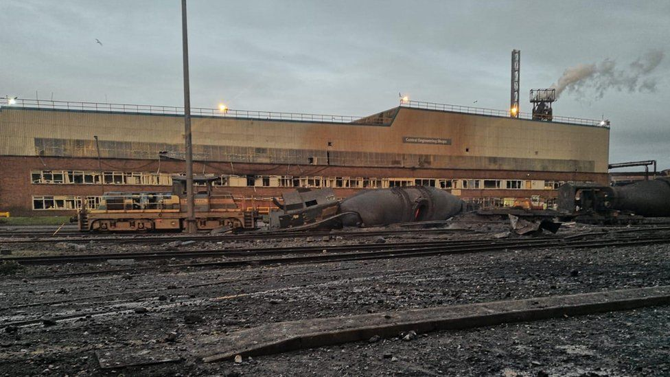Damage left by the explosion at Tata Steel in Port Talbot