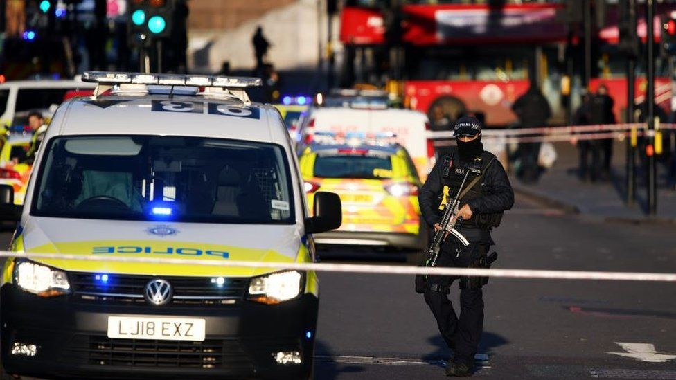Police respond to the attack at London Bridge