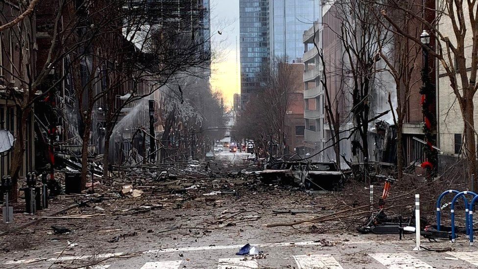 General view of the site of an explosion in the area of Second and Commerce in Nashville