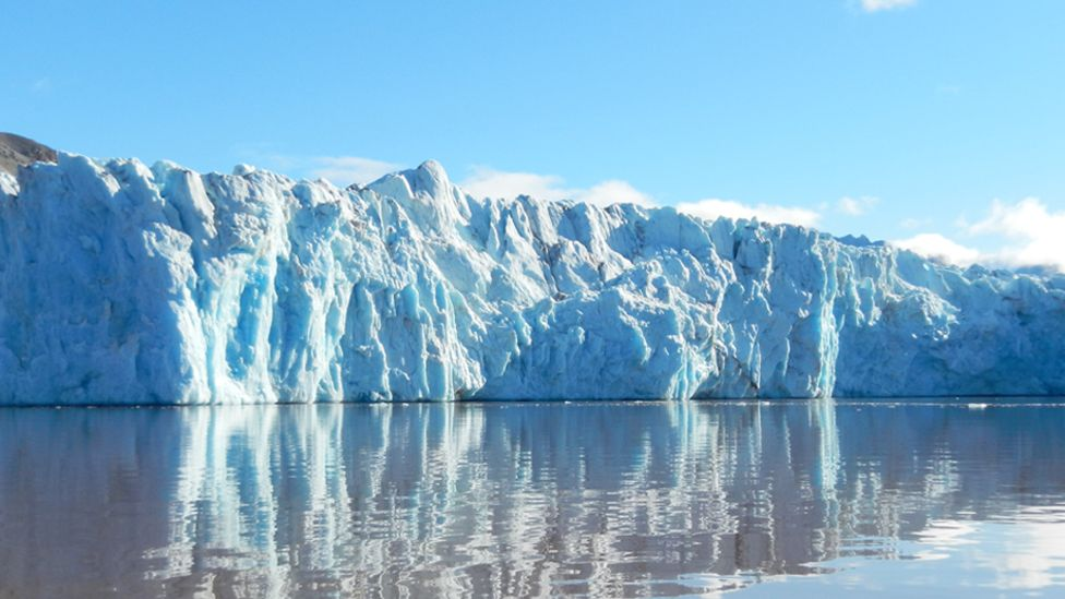 A glacier in a fjord in Svalbard