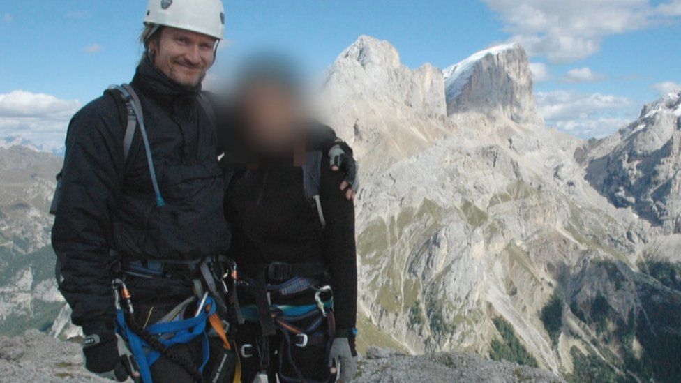 Undercover policeman and his girlfriend Lisa, not her real name, on holiday in the Italian Alps