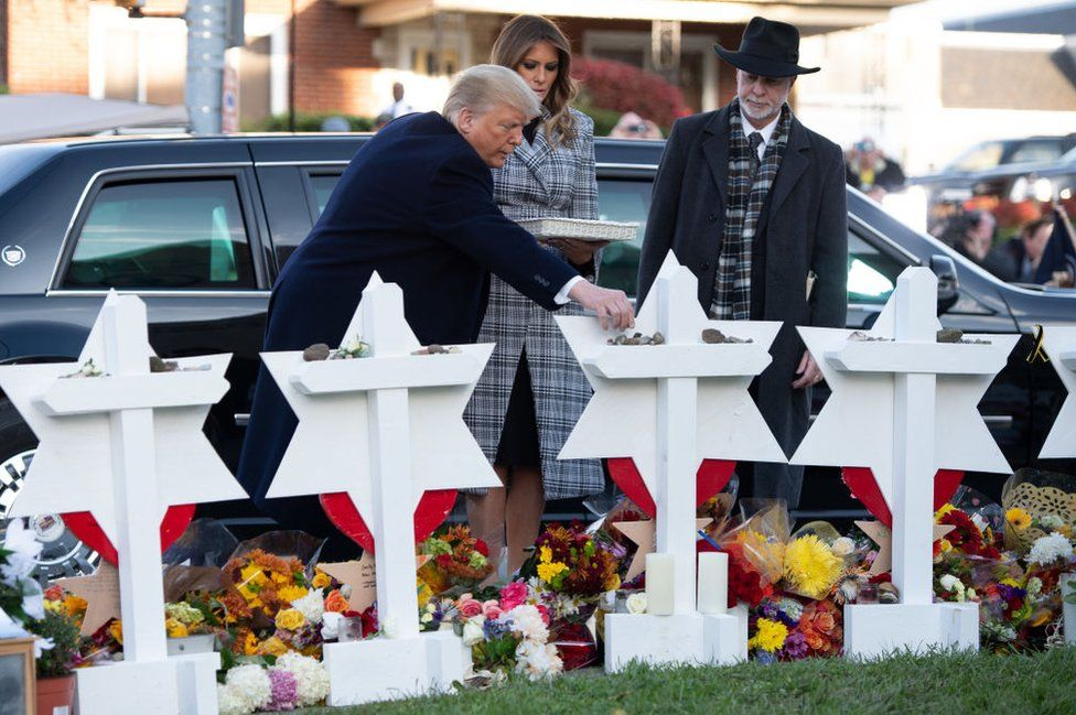 Mr Trump and the first lady visited the scene of the massacre on Tuesday