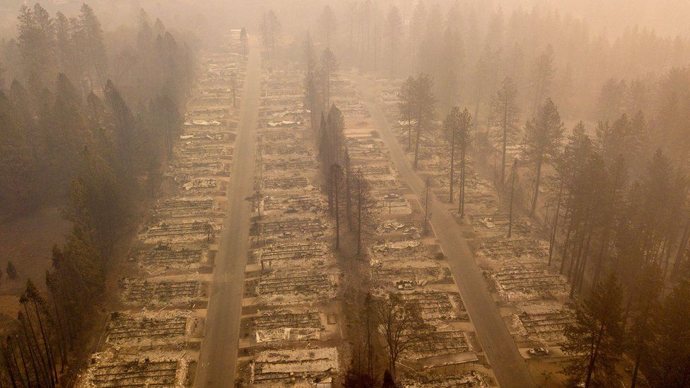 In this aerial photo, a burned neighborhood is seen in Paradise, California on November 15, 2018
