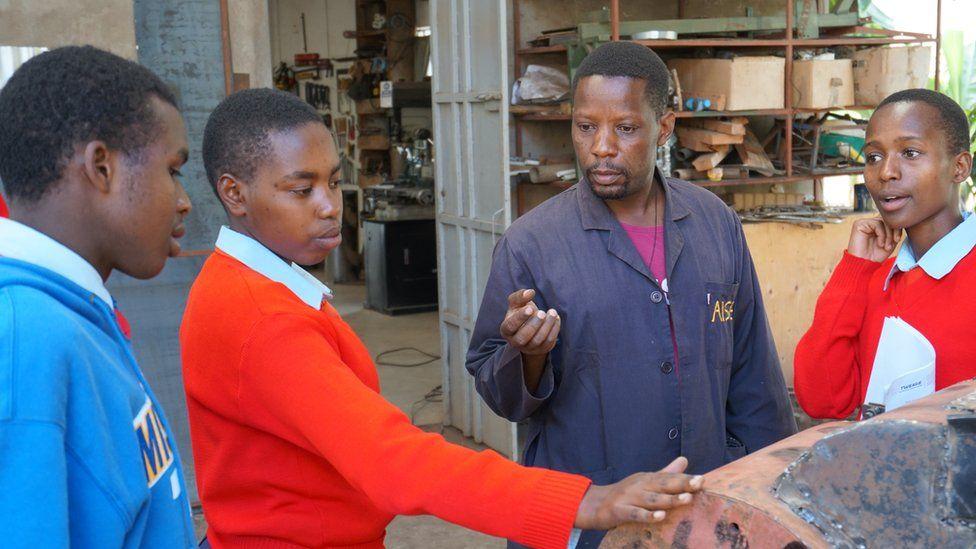 Bernard Kiwia in a workshop with school children