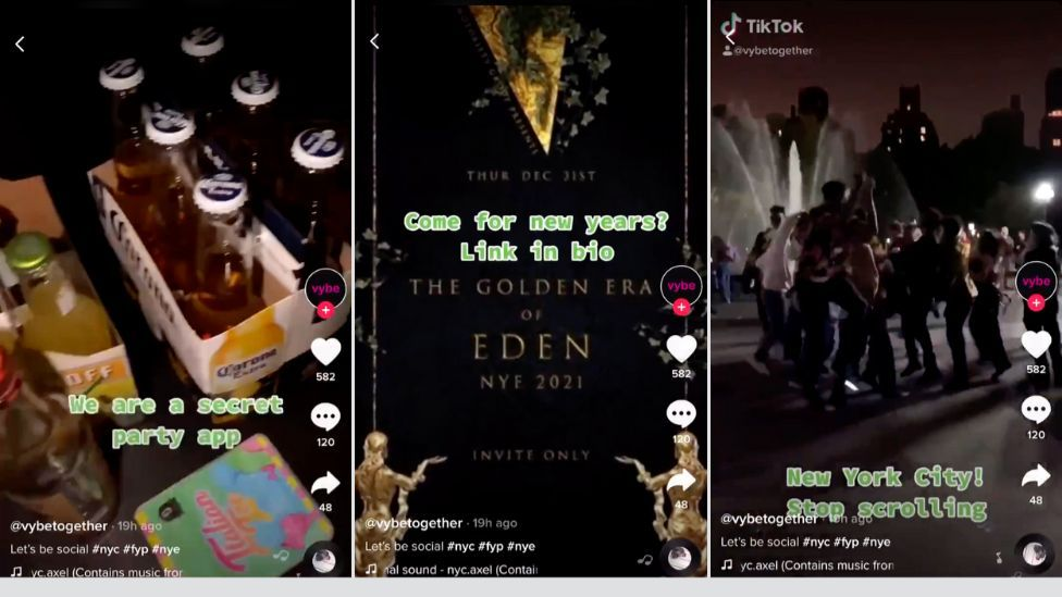 Screenshots of TikTok video