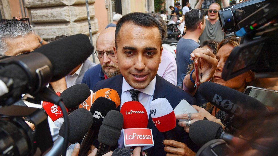 Five Star leader Luigi Di Maio talks to reporters on 3 September