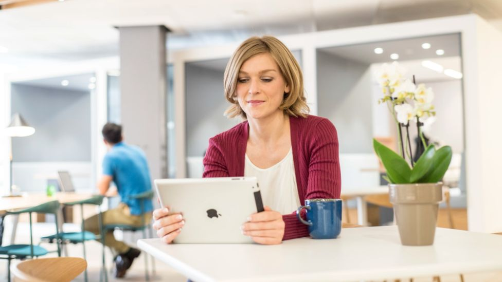 Woman with ipad
