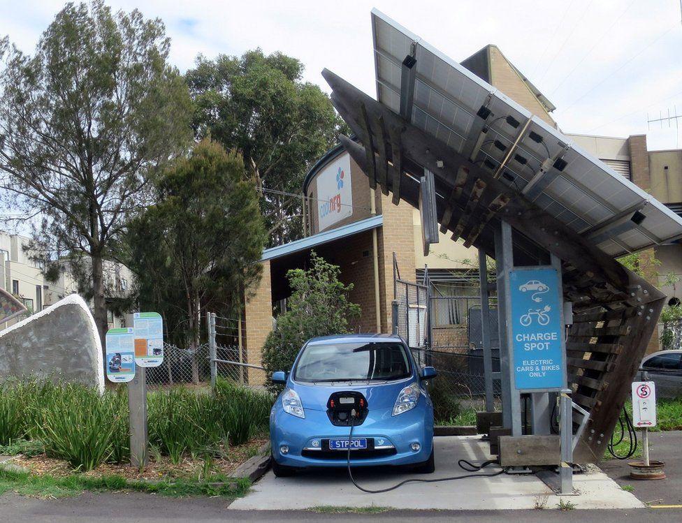 Car in a solar garage