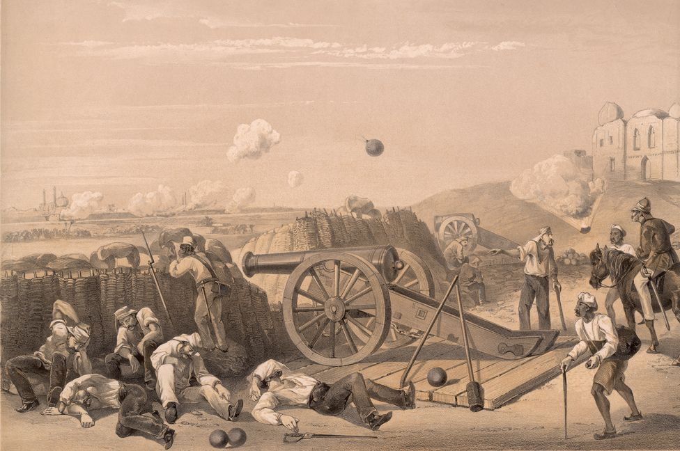 Heavy Day In The Batteries' on the Delhi Ridge, during the Indian Rebellion of 1857