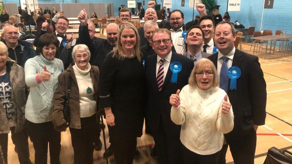 Marcus Jones and supporters in Nuneaton