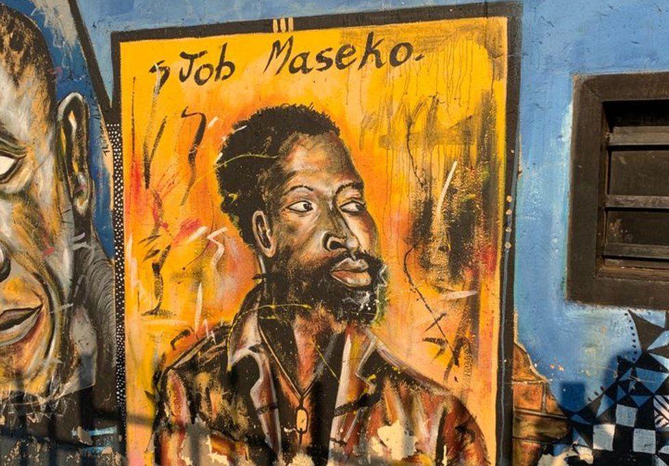 Portrait mural of Job Maseko
