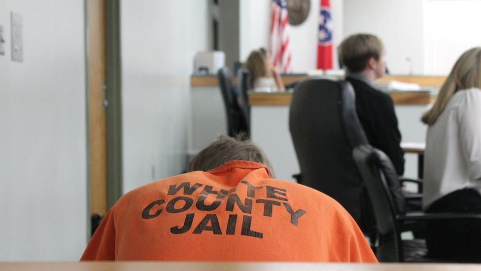 A White County inmate sits in Judge Sam Benningfield's courtroom