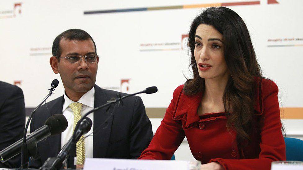 Amal Clooney of Doughty Street Chambers and President Nasheed of the Maldives attend a press conference at Doughty Street Chambers on January 25, 2016 in London, England