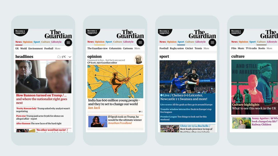 The Guardian app and online versions have also been redesigned