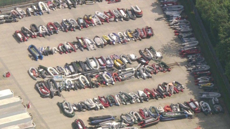 Dozen of small boats in storage in Dover