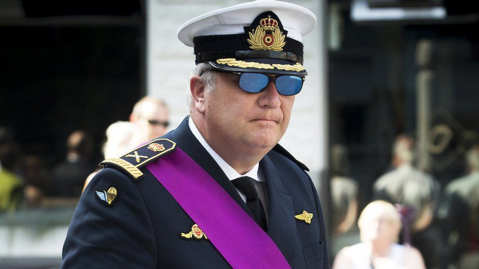 Prince Laurent of Belgium pictured in military uniform on Belgium's national day in 2016