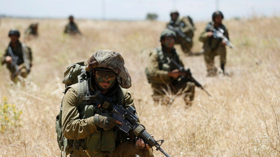 Israeli soldiers on a training exercise in the Golan Heights in June 2016