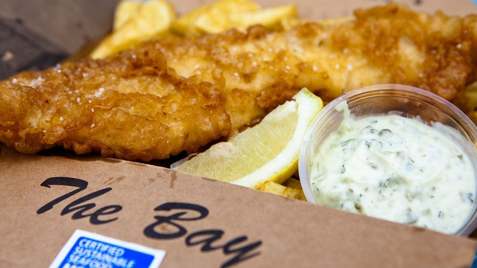 Fish and chips in cardboard