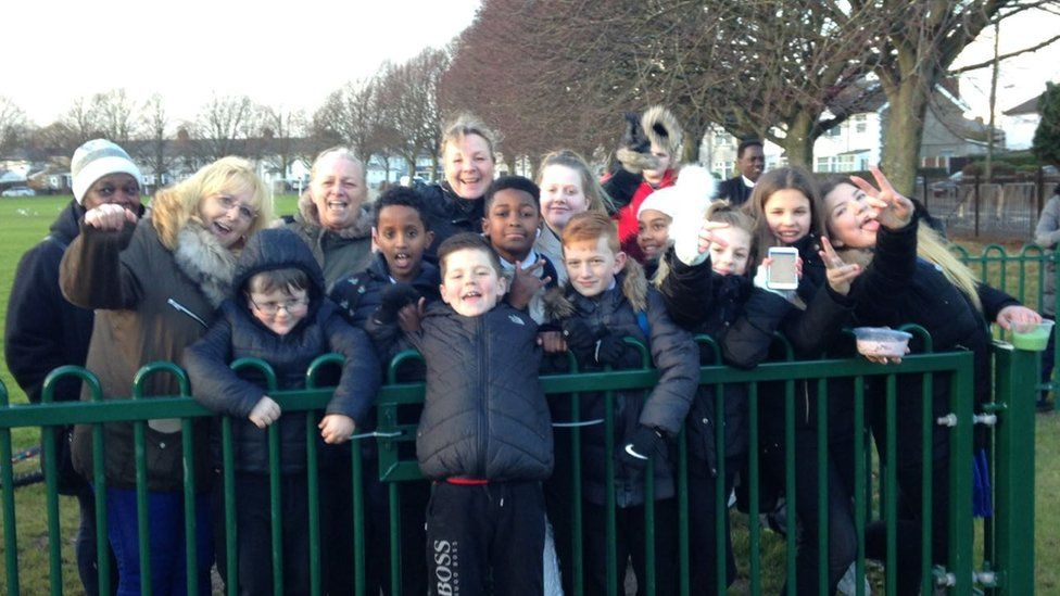 Youngsters gathered in Tremorfa to meet the couple