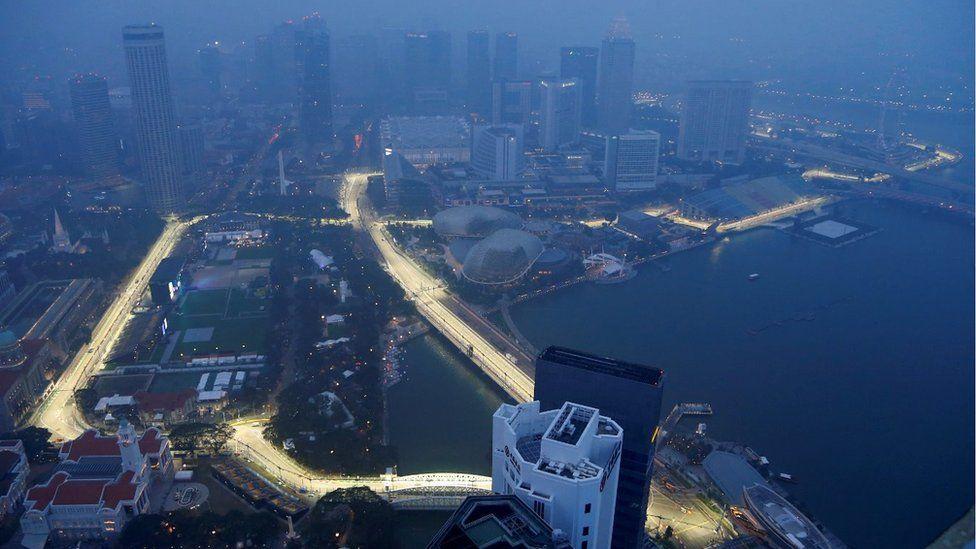 F1 race track shrouded in haze