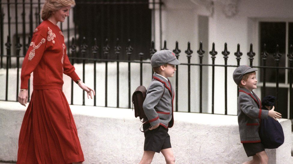 Princess Diana, Prince WIlliam and Prince Harry on Prince Harry's first day of school