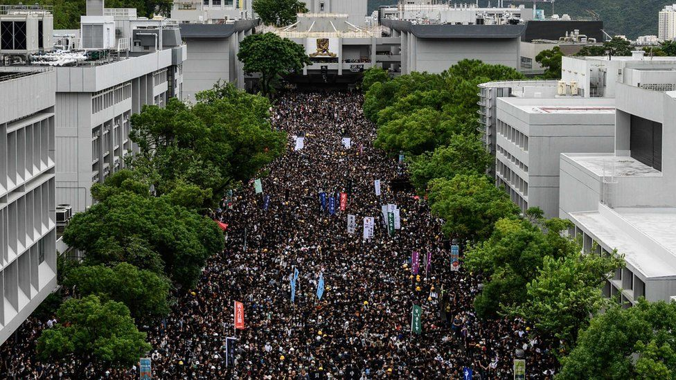Students attend a school boycott rally at the Chinese University of Hong Kong on September 2, 2019, in the latest opposition to a planned extradition law that has since morphed into a wider call for democratic rights in the semi-autonomous city
