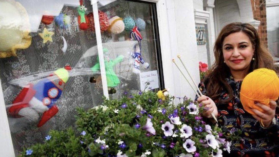 Farzana Chaudry and Tim Peake window display
