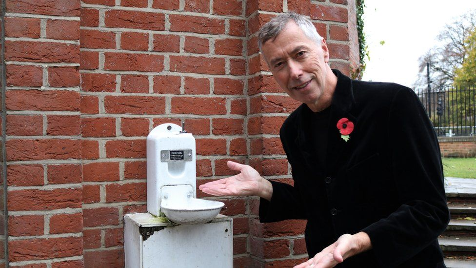 David King with water fountain