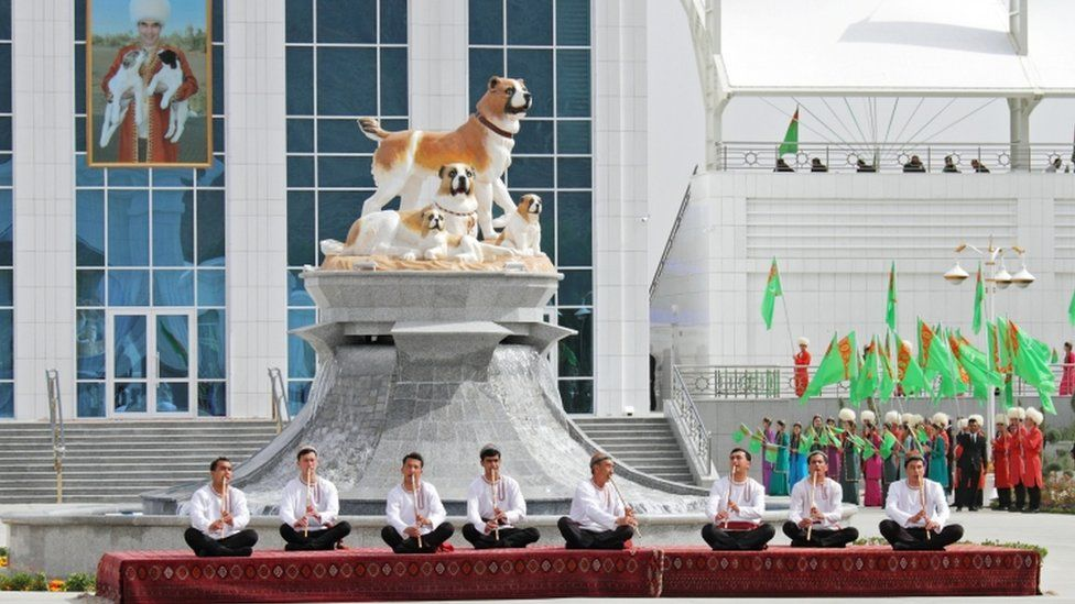 Musicians perform during celebrations for the national Turkmen Shepherd Dog Day near Ashgabat, Turkmenistan