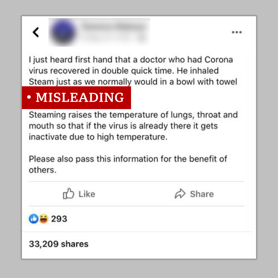 Facebook post about steam used to cure Covid-19 labelled misleading