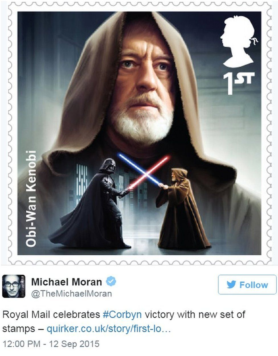 Tweet by Michael Moran showing Jeremy Corbyn Star Wars stamp - 12 September 2015