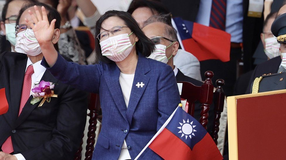 Taiwanese President Tsai Ing-wen gestures during the Taiwan National Day celebrations in Taipei, Taiwan, 10 October 2021.