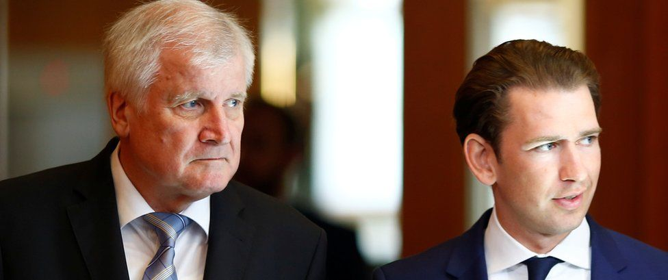 German Interior Minister Horst Seehofer and Austrian chancellor Sebastian Kurz are seen prior to a 13 June news conference in Berlin, Germany
